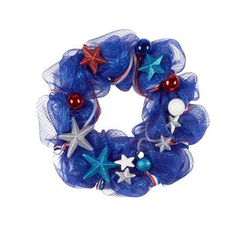 "22"" Silver Star Ribbon Wreath"