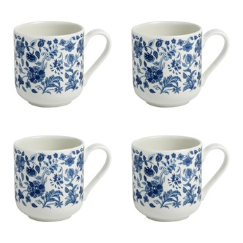 10-oz. Blue/White Floral Ceramic Mugs, Set of 4