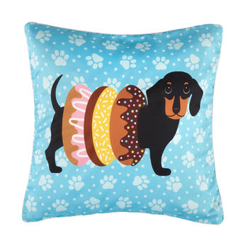 Donut Dachshund Dog Feather-Fill Square Throw Pillow view 1