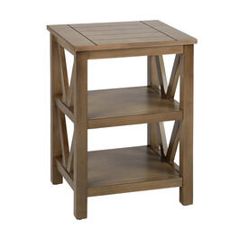 Dark Tan Plank Top V-Side Accent Table with Shelves view 1