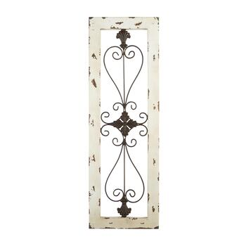 "11""x35"" Heart Center Scroll Panel Wall Decor"