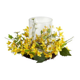 Yellow Flowers Candle Holder Centerpiece view 1