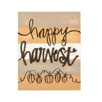 "16""x20"" ""Happy Harvest"" Wood Plank Wall Decor"