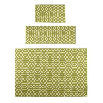 3-Piece Green/Ivory Geo Rug Set