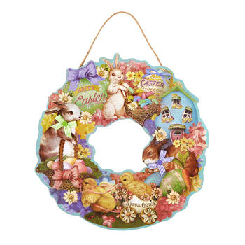 "20"" ""A Joyful Easter"" Glitter Wood Wreath view 1"