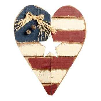 Painted Flag Wood Heart Wall Hanger