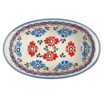 Polish Pottery Blue/Red Floral Oval Vegetable Bowl view 2