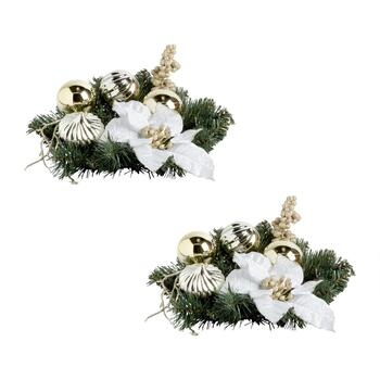 "11"" White Poinsettia Green Centerpiece, Set of 2"