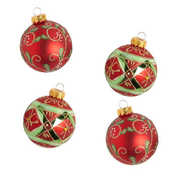 Red/Green Vines Glass Ornaments, Set of 8 view 1