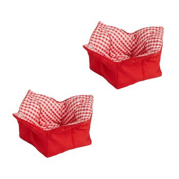 "6.75"" Red Plaid Soup Koozies, Set of 2"