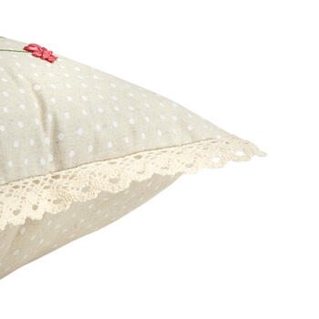 White Bunny and Flowers Polka Dot Oblong Throw Pillow view 3