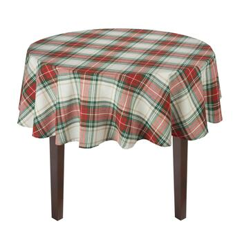 Red/Green Plaid Stripes Cotton Jacquard Tablecloth view 2