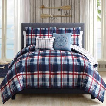 Red/White/Blue Nautical Plaid Comforter Set