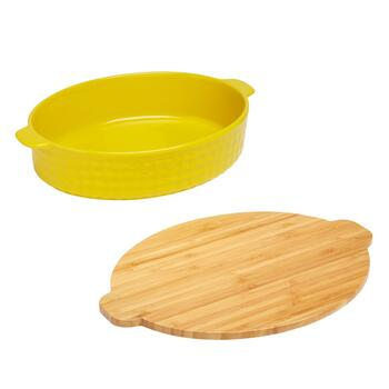 Oval Ceramic Baker with Bamboo Lid