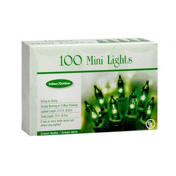 22' Green Bulb Indoor/Outdoor Mini String Lights, Set of 2 view 2 view 3