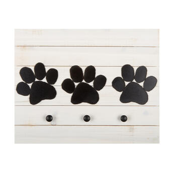 "16""x20"" Paw Prints Chalkboard 3-Hook Slatted Wood Wall Decor view 1"