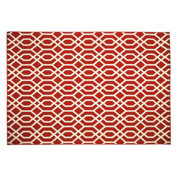 Red Trellis All-Weather Rug