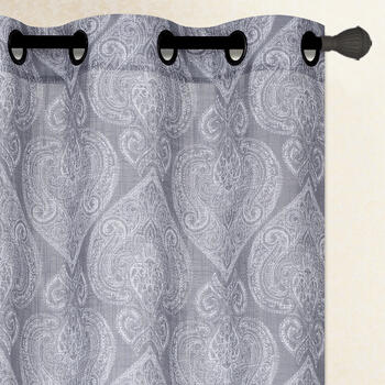 "84"" Gray Paisley Grommet Top Window Curtains, Set of 2 view 1"