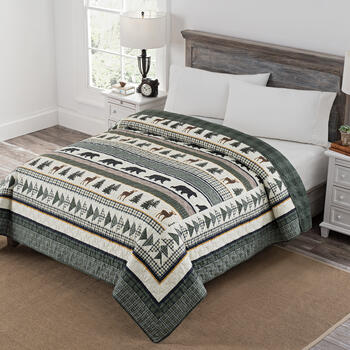 Lodge Print/Plaid Reversible Quilt view 1