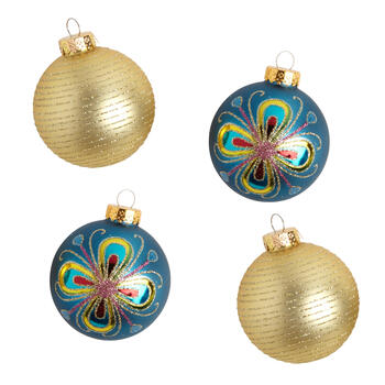 Blue/Gold Floral Glass Ornaments, Set of 8 view 1