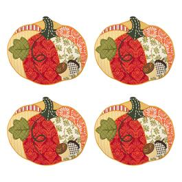 Quilted Multicolored Pumpkin Placemats, Set of 4