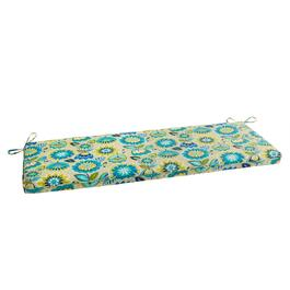 Yellow/Blue Floral Indoor/Outdoor Bench Seat Pad