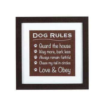 "15"" ""Dog Rules"" Framed Wall Decor"