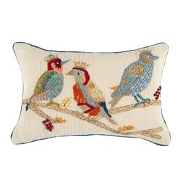 Orange/Blue Birds Oblong Throw Pillow