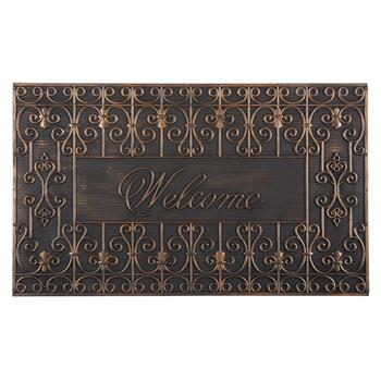 """Welcome"" Metallic Scroll Rubber Door Mat"
