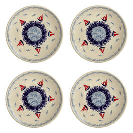 Polish Pottery Red/Blue Sailboats Salad Plates, Set of 4 view 1