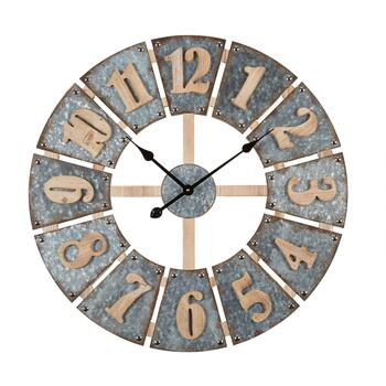 "28"" Metal/Wood Plates Round Wall Clock"