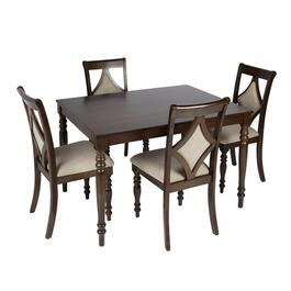 Dark Brown Ball Leg Dining Set, 5 Piece