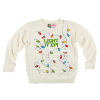 """Light It Up"" Christmas String Light-Up Ugly Sweater view 1"