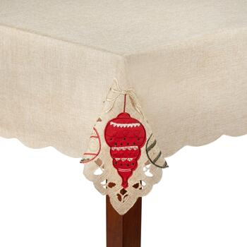 Holiday Ornaments Cutwork Tablecloth