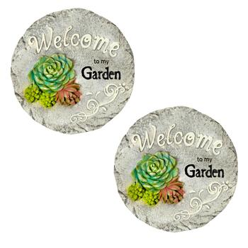 "10"" Garden Greeting Stepping Stones, Set of 2"