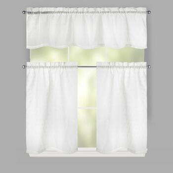 White Cathedral Window Tier & Valance Set