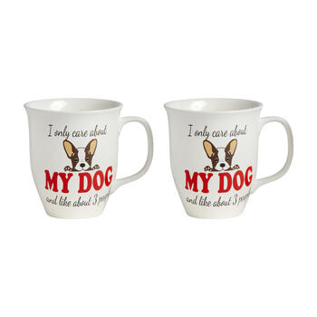 """I Only Care About My Dogs"" Mugs, Set of 2 view 1"