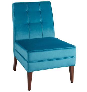 Teal Velvet Tufted Slipper Chair