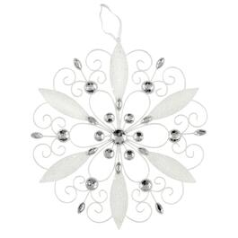 "12"" White Metal Embellished Snowflake Wall Hanger"