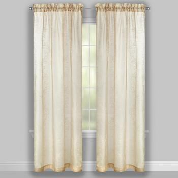 Damask Embroidered Linen-Like Window Curtains, Set of 2 view 2