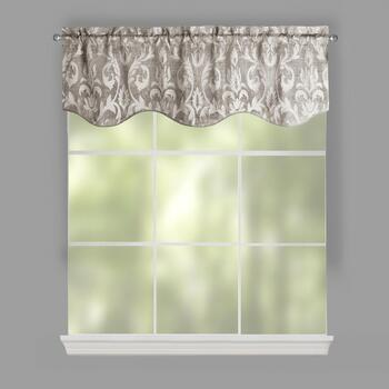 Damask Chenille Jacquard Window Valances, Set of 2