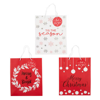 """Tis the Season"" and ""Merry & Bright"" Gift Bags, Set of 6 view 1"