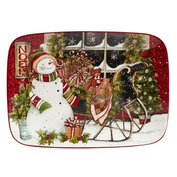 Snowman's Sleigh Ceramic Serving Platter