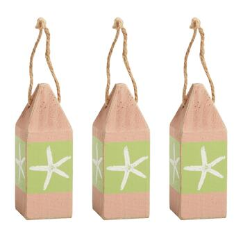 Starfish Pink Wood Buoy Ornaments, Set of 3