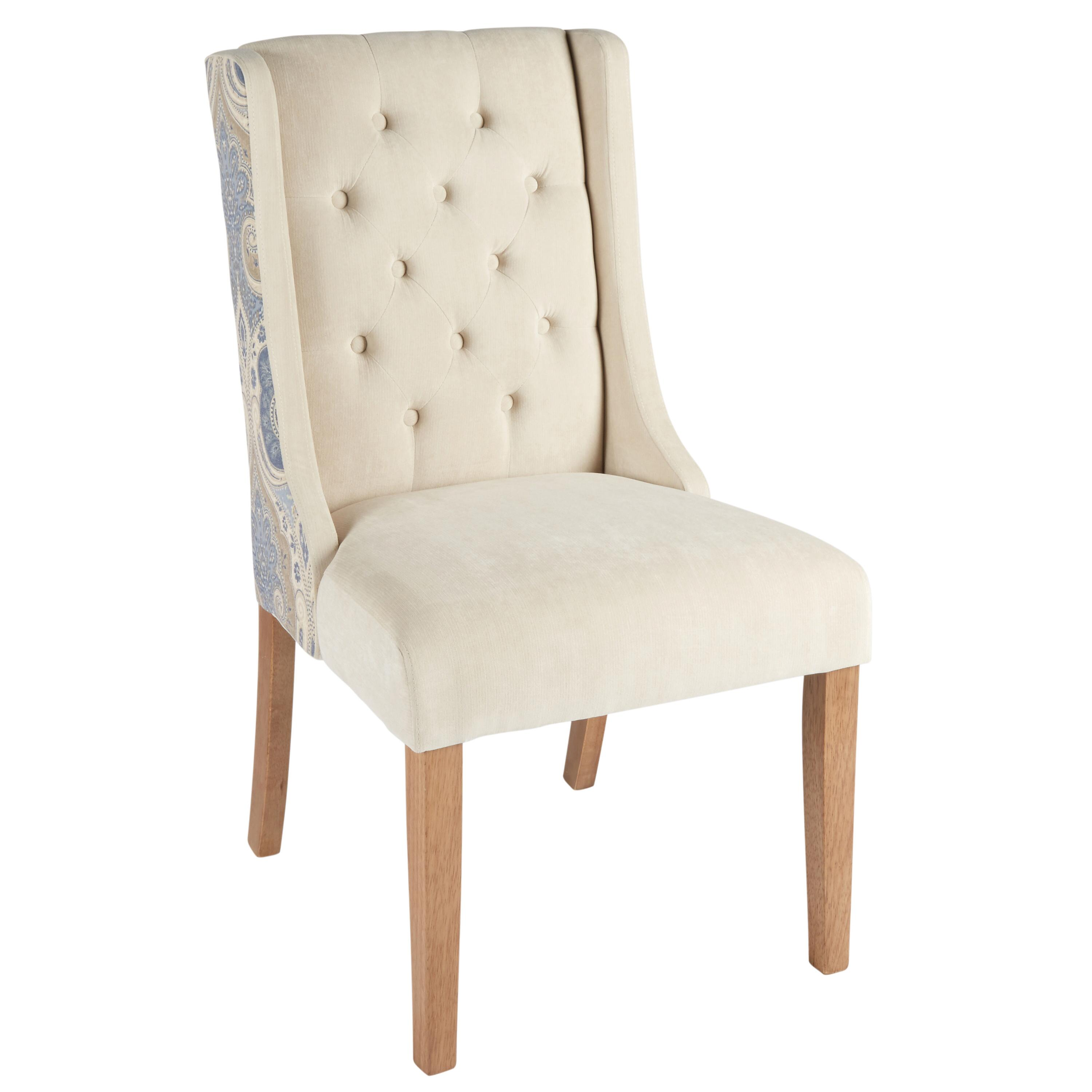 Paisley Tufted Upholstery Sleigh Parsonu0027s Chair
