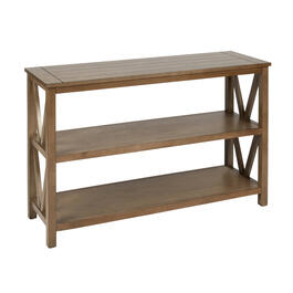 Dark Tan Plank Top V-Side Console Table view 1