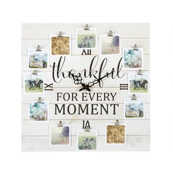 "The Grainhouse™ 20"" ""Thankful for Every Moment"" Photo Clip Square Wall Clock"