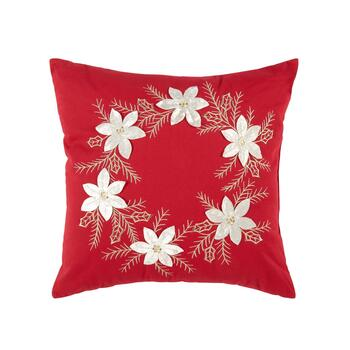 "18"" White Flowers Square Throw Pillow"