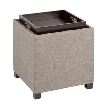 Fabric Tray Top Cube Storage Ottoman view 2