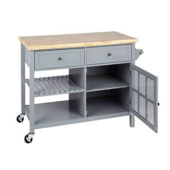 Gray 2-Drawer/1-Door Rolling Kitchen Island view 2